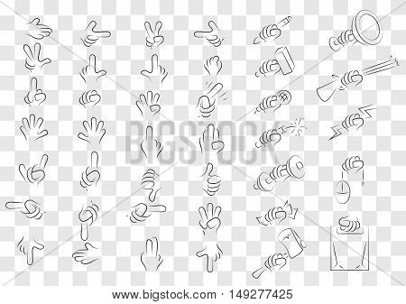 Big set of isolated gestures of hands