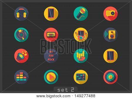 Set of sixteen flat music icons on black background