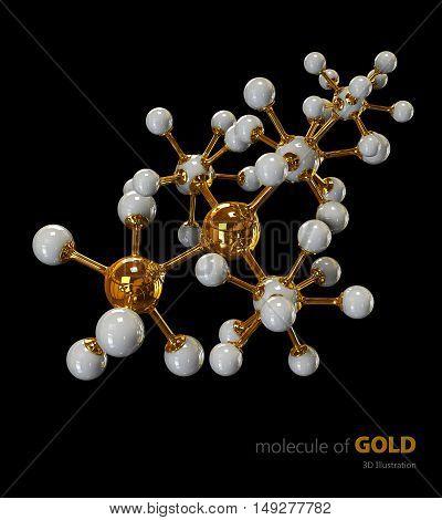 3D Illustration, Gold Molecule isolated black background