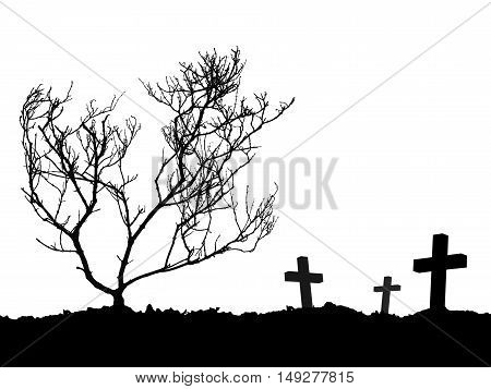 grave, silhouette of three cross and dead tree on the mound isolated on white background