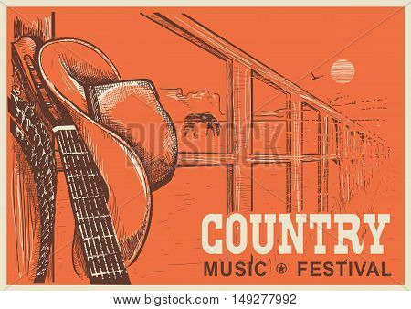 Western Country Music Poster With Cowboy Hat And Music Guitar