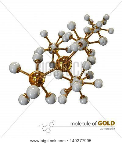 3D Illustration, Gold Molecule isolated white background