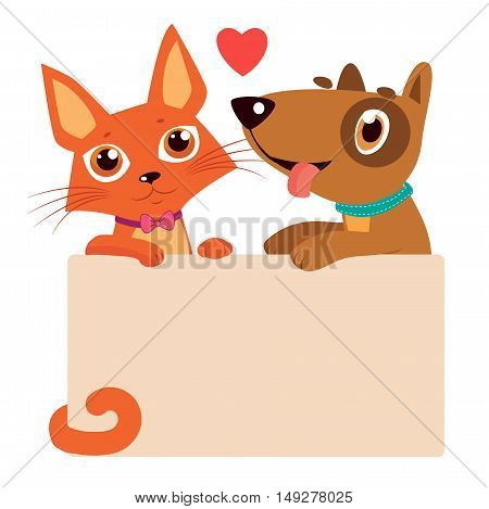 Happy Cartoon Cat And Dog Friendship Vector. Cartoon Vector Illustration Of Best Friends. Cat And Dog Holding Sign.