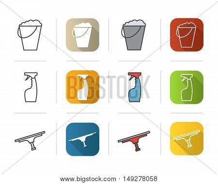 Cleaning items icons set. Flat design, linear and color styles. Bucket with foam, glass cleaning spray, tool for window cleaning . Isolated vector illustrations.