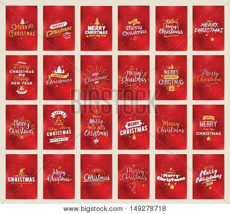Merry Christmas and Happy New Year 2017 greeting cards collection. Typography design. Also usable for posters and banners, gifts package etc.