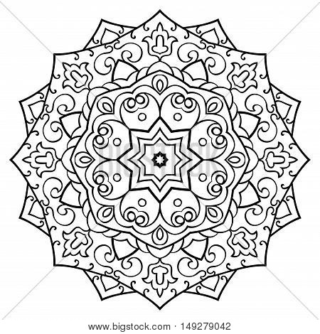 Vector contour mandala on a white background. Oriental ornament. Round element for design. Sketch for tattoo. Template for coloring book. T-shirt print.