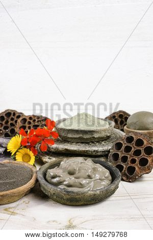 Ancient minerals - black green and blue clay powder and mud mask for spa beauty concept