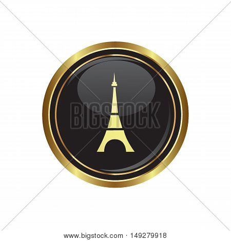 Eiffel tower icon on the button. Vector