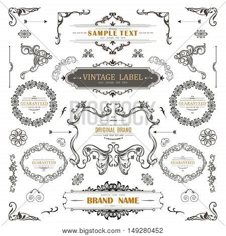 Vintage decorations curl elements.Classical calligraphic ornaments,frames,vignette,labels.Elegant Style Design Collection for greeting,Invitations, Banners,Posters,Badges,Logotypes and so on