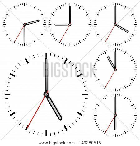 Clock dial. Time indication. Vector illustration isolated on white background