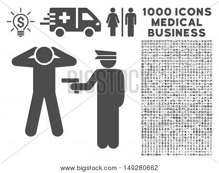 Gray Arrest icon with 1000 medical business vector pictograms. Collection style is flat symbols, gray color, white background.