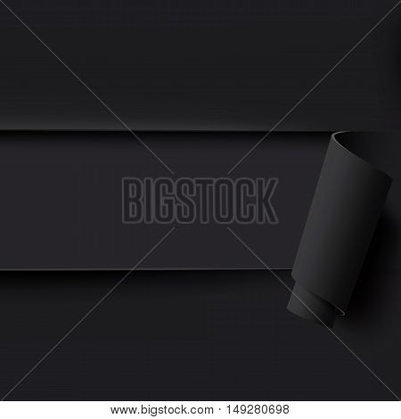 Black torn paper background with empty space for text. Template for brochure, poster or flyer. Vector illustration.