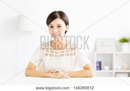 closeup smiling young beautiful asian woman  indoors