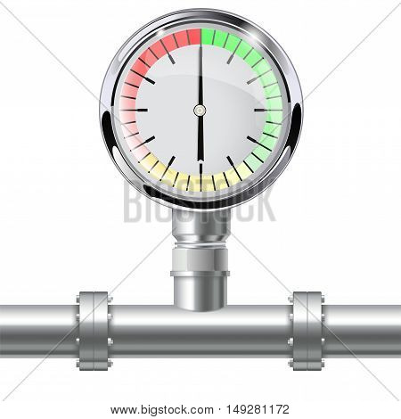 Manometer with pipe connection. Vector illustration isolated on white background