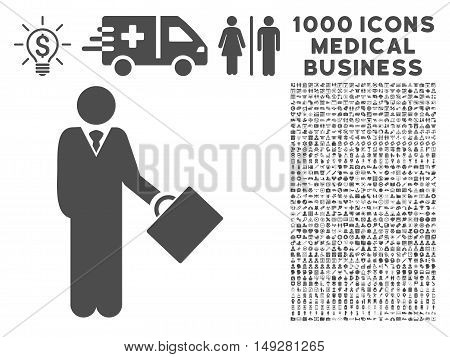 Gray Businessman icon with 1000 medical business vector pictograms. Collection style is flat symbols, gray color, white background.