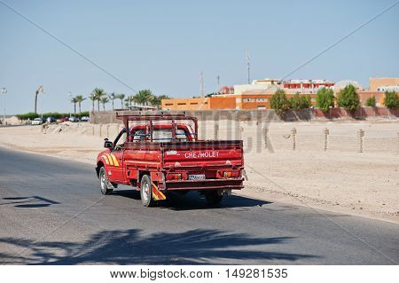 Hurghada, Egypt -20 August 2016: Chevrolet Pickup Car With Egypt License Plate