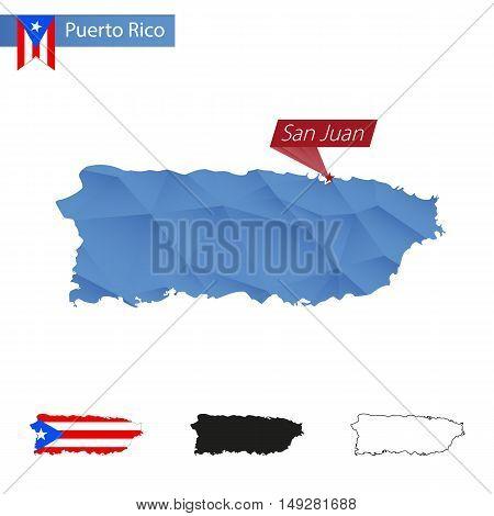 Puerto Rico Blue Low Poly Map With Capital San Juan.