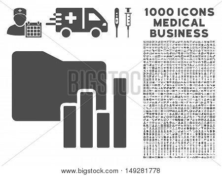 Gray Charts Folder icon with 1000 medical business vector pictograms. Design style is flat symbols, gray color, white background.
