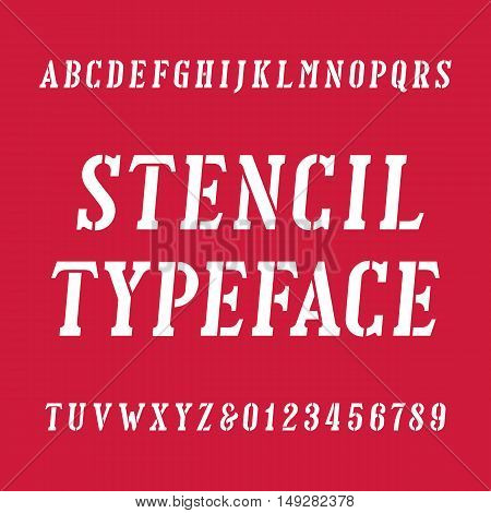 Stencil alphabet font. Serif type oblique letters and numbers. Vector typeface for your design.