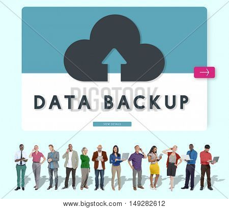 Cloud Backup Upload Transfer Sync Graphic Concept