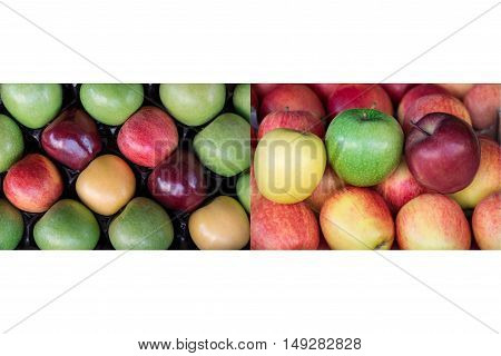 Collage from two photos of four different ripe apples types: granny smith, starking, gala and golden apples laid out in rows at a grocery shop for sale on white background. Two apples photos collage.