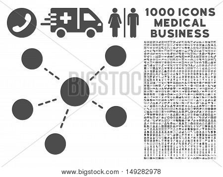 Gray Connections icon with 1000 medical business vector design elements. Set style is flat symbols, gray color, white background.