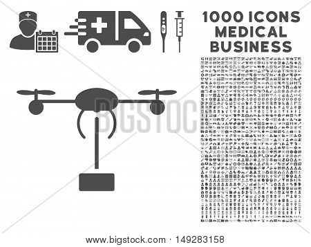 Gray Copter Shipment icon with 1000 medical business vector design elements. Design style is flat symbols, gray color, white background.