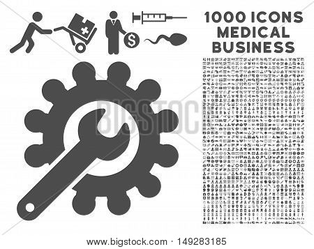 Gray Customization icon with 1000 medical business vector design elements. Set style is flat symbols, gray color, white background.