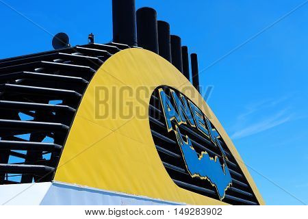 Igoumenitsa Greece - August 3 2016: Close Up On Chimneys Of A Ferry (Company Anek Lines). Anek Lines Is The Largest Passenger Shipping Company In Greece