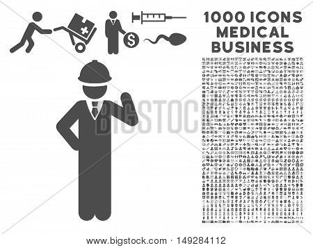 Gray Engineer icon with 1000 medical business vector pictograms. Collection style is flat symbols, gray color, white background.