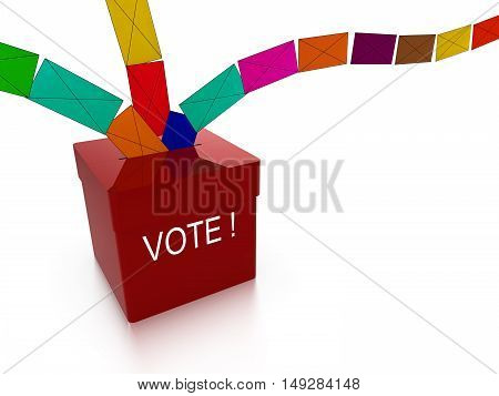 Ballot box in red with the word vote and multiple colored letters flying in from all directions isolated on white 3D illustration diversity concept