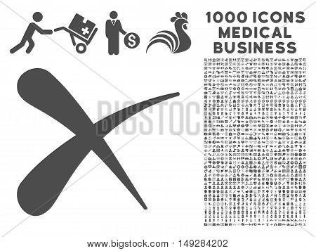 Gray Erase icon with 1000 medical business vector pictographs. Set style is flat symbols, gray color, white background.