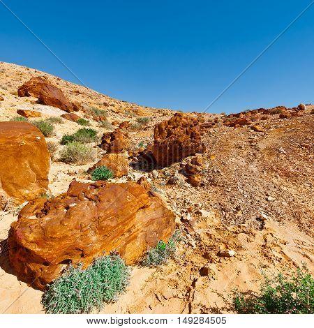Big Stones of Grand Crater in Negev Desert Israel