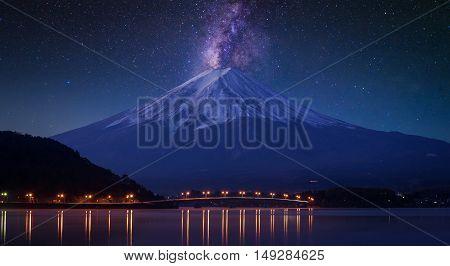 Mount Fuji At Lake Kawaguchiko, Twilight