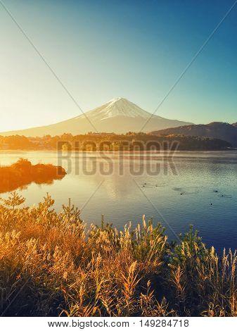 Fujisun at lake Kawaguchiko in Japan. Mount fuji on sunrise vintage tone