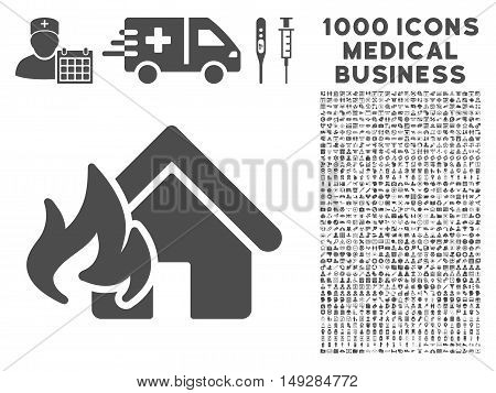 Gray Fire Damage icon with 1000 medical business vector pictographs. Collection style is flat symbols, gray color, white background.