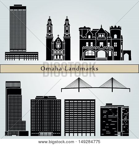 Omaha landmarks and monuments isolated on blue background in editable vector file