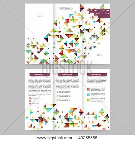 Color tri fold  brochure template with geometric elements