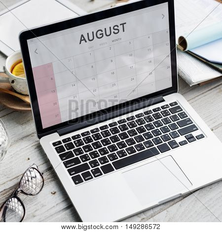 August Monthly Calendar Weekly Date Concept