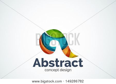 Abstract swirl logo template, smooth elegant shape concept. Color overlapping pieces design style
