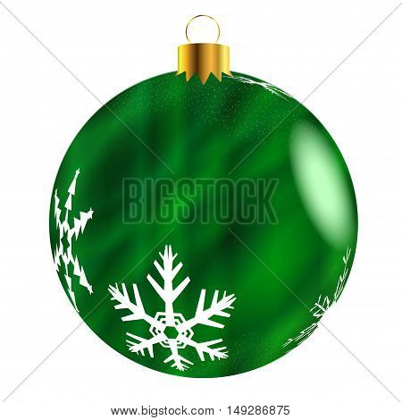 A glossy green Christmas decoration with snowflake patterns isolatedon a white background.