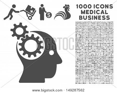 Gray Intellect Gears icon with 1000 medical business vector pictographs. Set style is flat symbols, gray color, white background.
