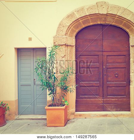Wooden Ancient Italian Door in Historic Center Instagram Effect
