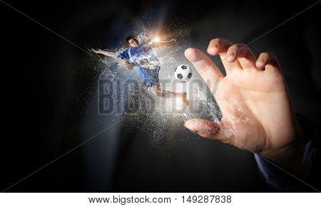 Football game fan . Mixed media