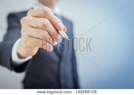 Hand Of Business Man Write Or Writing