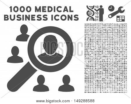 Gray Marketing icon with 1000 medical business vector pictographs. Set style is flat symbols, gray color, white background.
