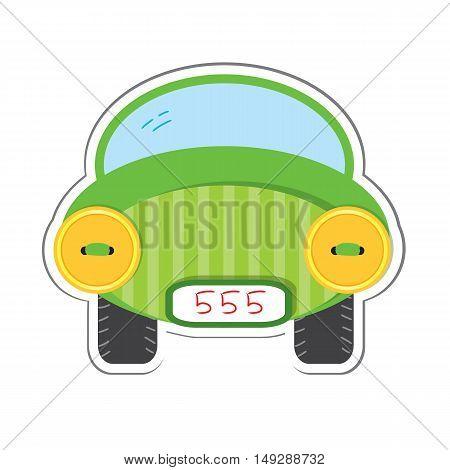 Car sticker for scrapbook design. Vector illustration