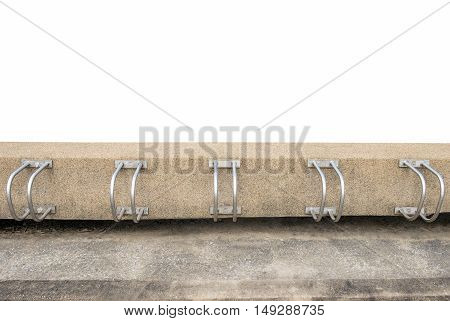 Bicycle racks in bicycle parking facility isolated on white background.