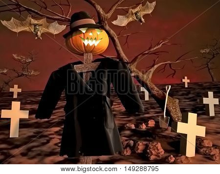 Abstract background with a Halloween stuffed animal. 3D illustration
