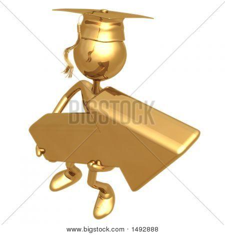 Golden Grad Holding An Arrow Cursor Graduation Concept